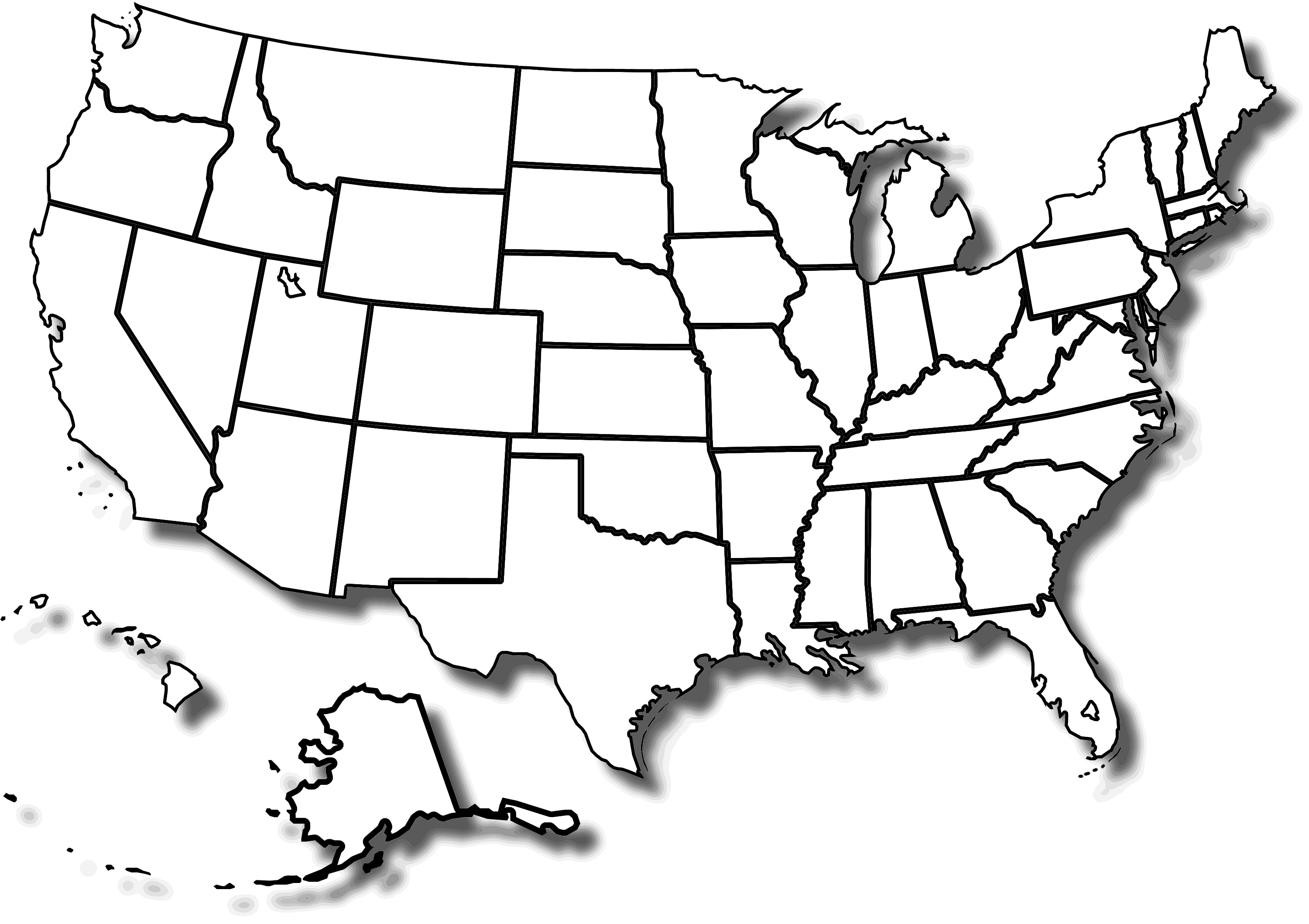 Blank And White Usa Map Blank And White Usa Map Blank Black And ...